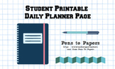 Student Printable Daily Planner Page - Cats Theme