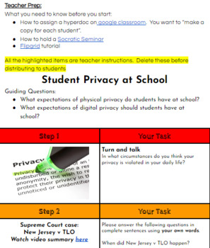 Fourth Amendment: Student Privacy Hyperdoc