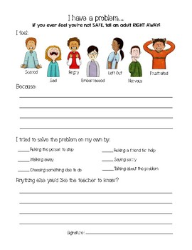 "Student Problem Reporting Sheet - ""Tattle Sheet"""