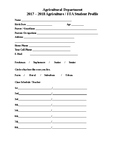 Student Profile Form  for FFA  and Agriculture
