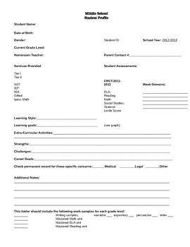 Student Profile Sheet