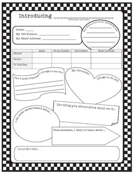 Student Profile or Information Sheet