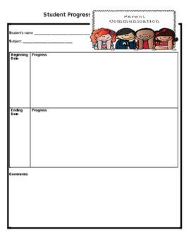 Student Progress Parent Communication Form