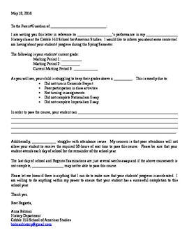 Student Progress Report Note to Parents