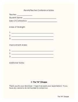 Student Progress Report and Parent Conference Note Sheet