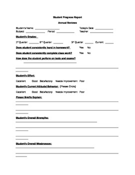 Student Progress Report for Annual Reviews