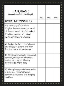 Student Progress Tracker - Data Notebook for 7th Language Common Core