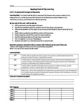 Student Progress Tracker Economics Units 1-6