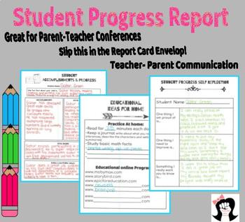 Student Progress: Use for Conferences, Report Cards, or Parent Communication