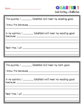 Student Quarterly Goal Setting - Reading, Math, & Personal - Steps & Reflection
