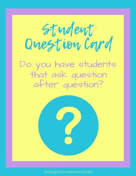 Student Question Cards