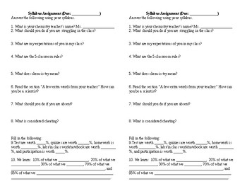 Student Questionnaire and Syllabus assigment