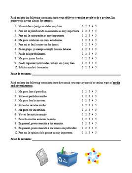 Student Questionnaire for Avancemos Level 3:  Unit 2, Lesson 1