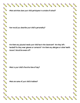 Student Questionnaire for Parents: Get to Know Your Students  FREE