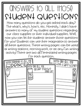 Creative Writing Pages for Student Questions