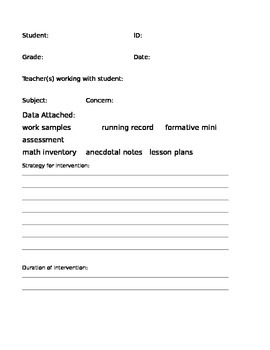 Student RTI Documentation Form