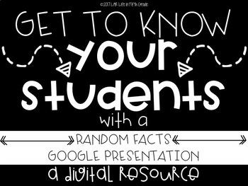 Student Random Facts: A DIGITAL Back to School Activity!