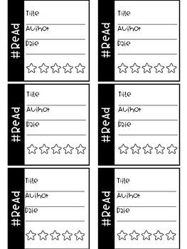 Student Reading Cards Bookmarks ( Target Square Labels)