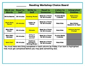 Student Reading Choice Board