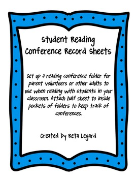 Student Reading Conference Record Sheets