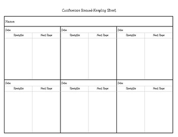 Student Reading Conference Sheet