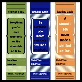 Customizable Student Reading Goals Bookmarks to Motivate Students