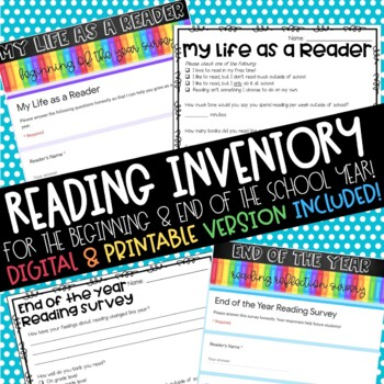 Student Reading Inventory & End of the Year Reflection {w/ Google Option!}