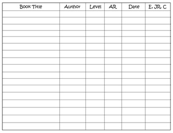 Student Reading Log Form