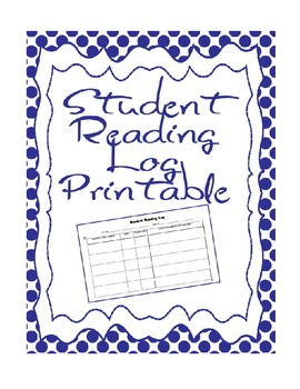 Student Reading Log Graphic Organizer