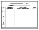 Student Reading Log: Homework Graphic Organizer
