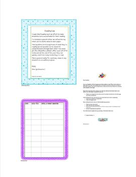 Student Reading Log - for at home reading
