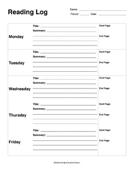 Student Reading Logs for diverse learners and readers