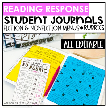 Distance Learning Reading Response Journals | Notebooks | Digital | Editable