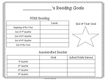 Student Reading Organizers