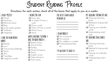 Student Reading Profile