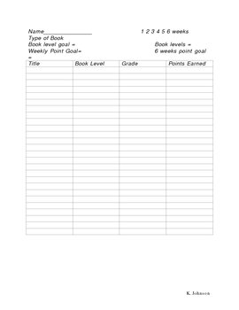 Student Reading Record Sheet