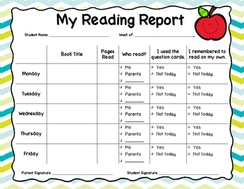 Student Reading Report Home Activity