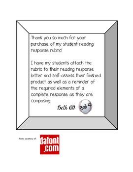 Student Reading Response Rubric