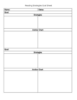 Student Reading Strategy Goal Tracker