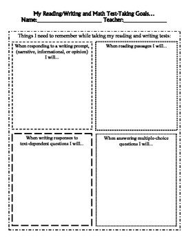 Student Reading/Writing, and Math Goal Sheets for Standard