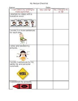 Student Recipe Writing - End of Unit Editing/Revising Checklist