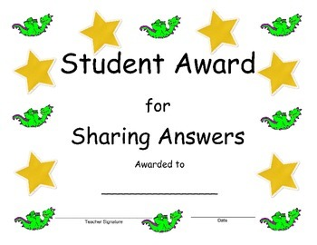 Student Recognition Awards for Kindergarten and Primary