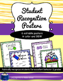 Student Recognition Posters (editable)