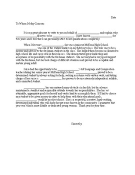 student recommendation letter template