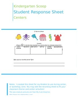 Student Recording Sheet for Centers