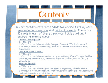 Student Reference Cards: Parts of Speech, Sentence Building, & Critical Thinking