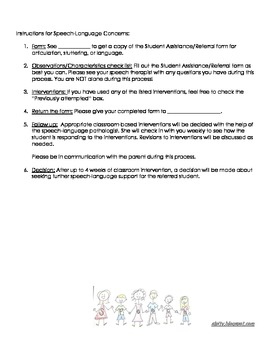 Student Referral: speech-language concerns