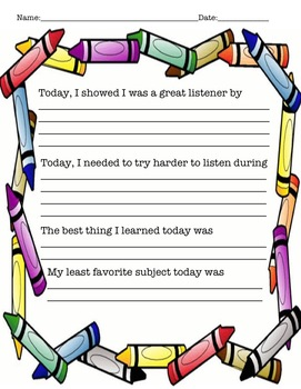 Student Reflection - 5 Pack