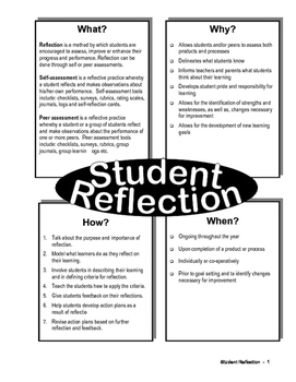 Student Reflection Cards/Worksheets/Exercises
