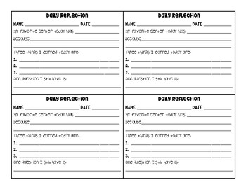 Student Reflection Exit Tickets